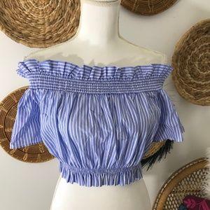 Zara • Smocked Striped Crop Top
